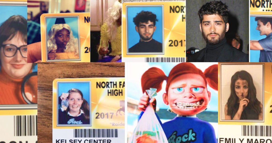 High School ID Photos Dressed Up Like Popular Characters