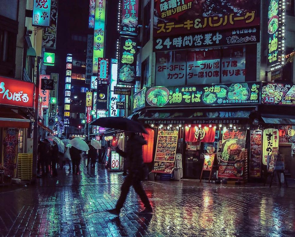Neon Lighted Streets of Tokyo