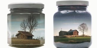 This Art Is Presenting Colorful Landscapes Inside Glass Jars