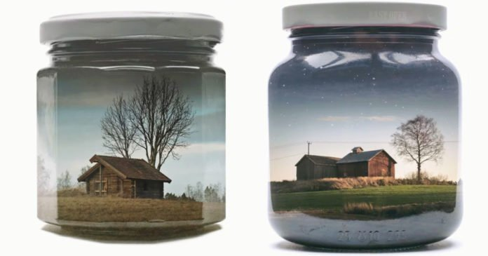 Colorful Landscapes Inside Glass Jars