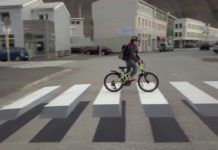 Three Dimensional Painted Zebra Stripes To Slow Drivers At Crosswalk