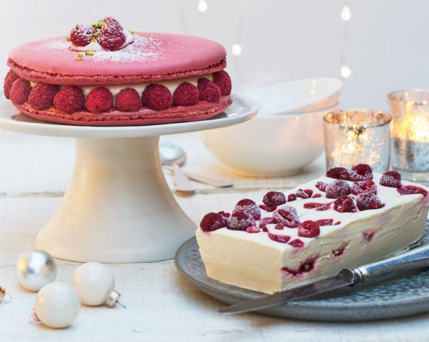 Raspberry and White Chocolate Macaron Cake