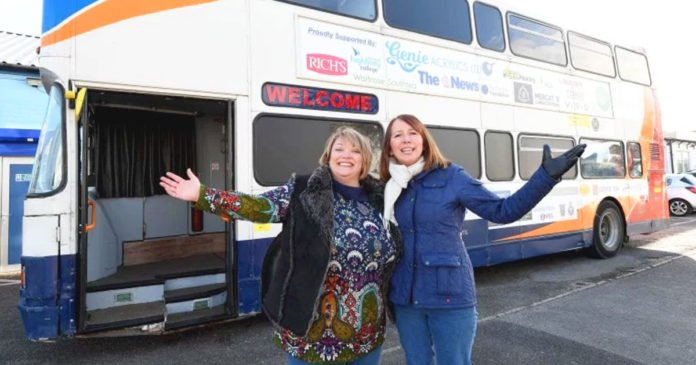 Two Lady Transforms Double Decker To 12 Bed Bus Shelter For Homeless