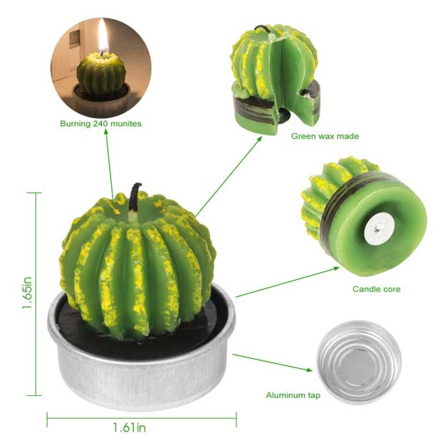 AMASKY Cactus Tealight Candles, Handmade Delicate Succulent Cactus Candles for Valentine's Day Birthday Party Wedding Spa Home Decoration
