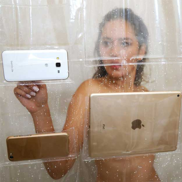 BUNKERWALL iPad Mount Clear Shower Curtain Liner