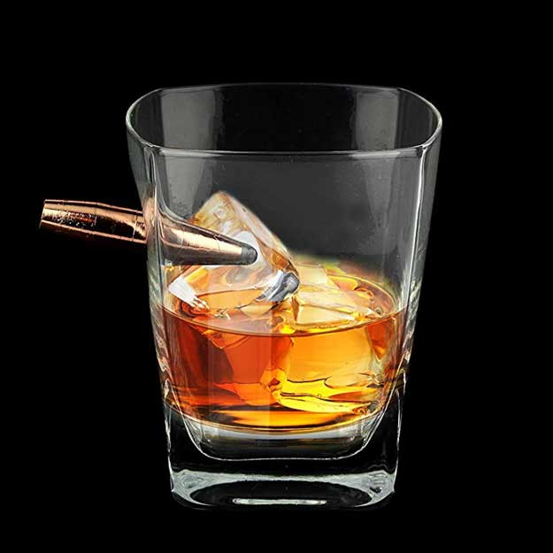 Barbuzzo Last Man Standing - Bullet Whiskey Glass - Durable Hand Blown Glass - Hand Sculpted with a Faux 50 Caliber Bullet - Great Man Gift and Addition