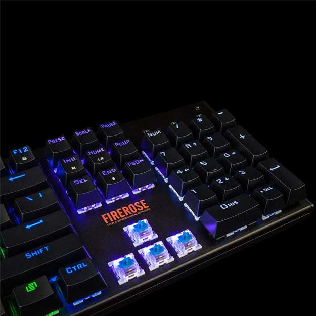 Firerose Ergonomic Waterproof Chroma Marquee LED Illuminated Mechanical Gaming Keyboard