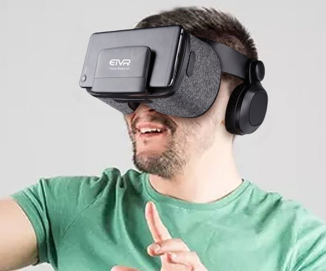 Virtual Reality Headset with Stereo Headphones