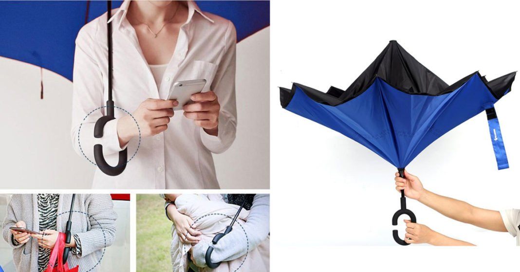 Windproof Double Layer Inverted Umbrella With Reverse Folding