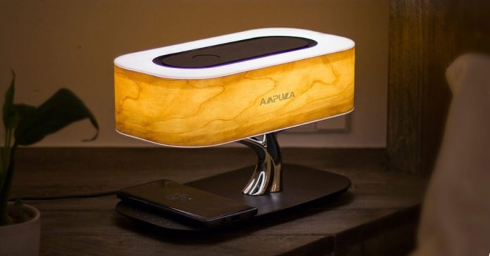 A Wireless Bluetooth Speaker Lamp With Wireless Charging