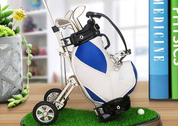 Golf Themed Pens with Golf Bag Holder