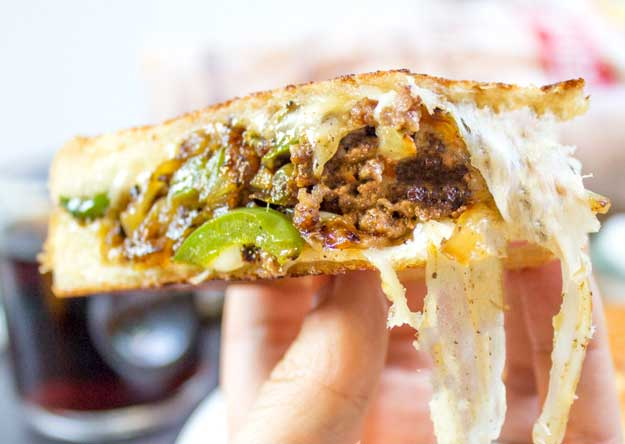 Ground Beef Philly Cheesesteak Grilled Cheese Recipe