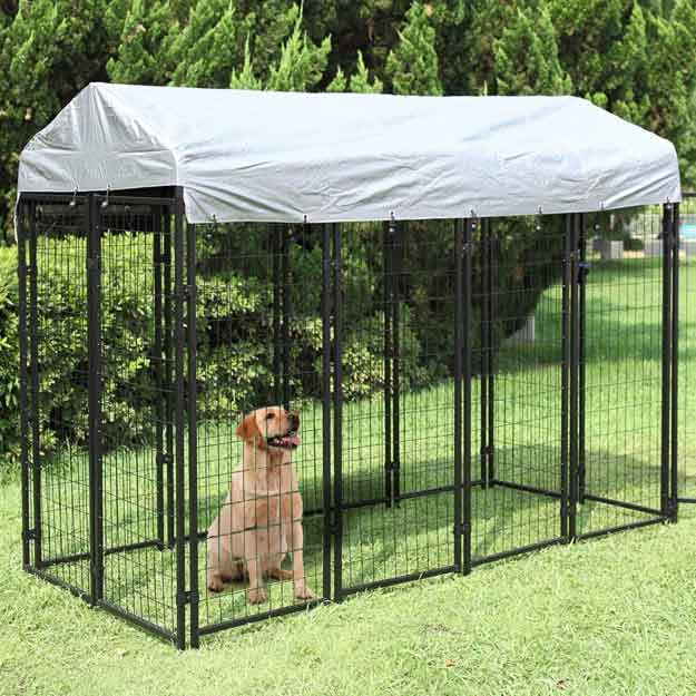 JAXPETY Large Dog Uptown Welded Wire Kennel Outdoor