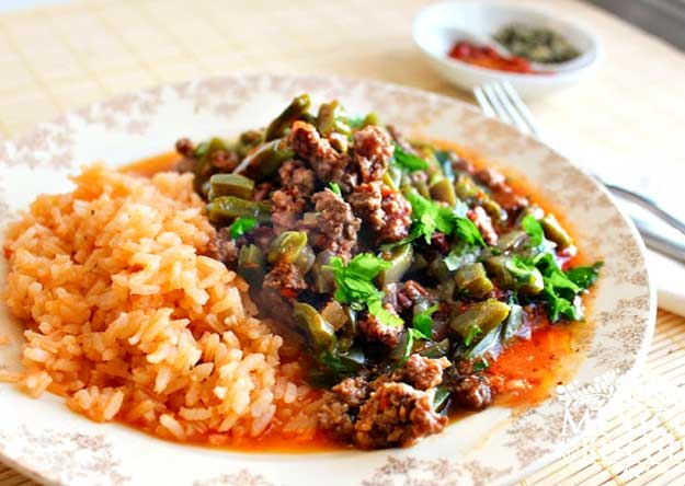 Nopales With Ground Beef In A Piquin Sauce Recipe