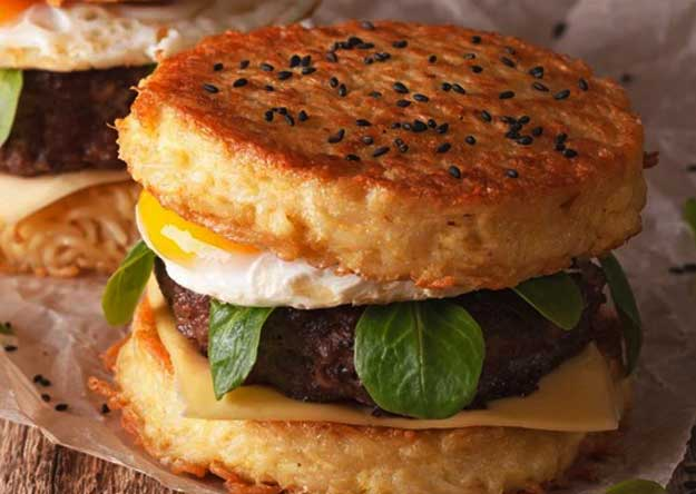Ramen Burger Fried Egg