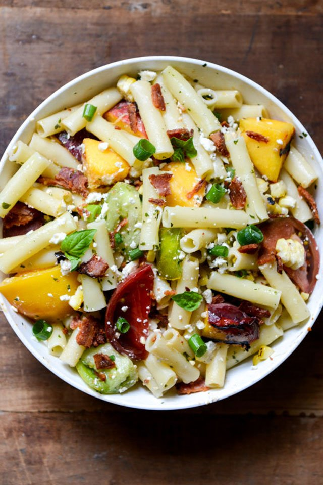 Smoky Heirloom Tomato And Grilled Peach Pasta Salad