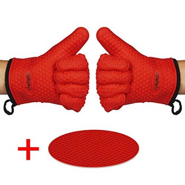 Chefaith Silicone Kitchen Oven Mitt Gloves