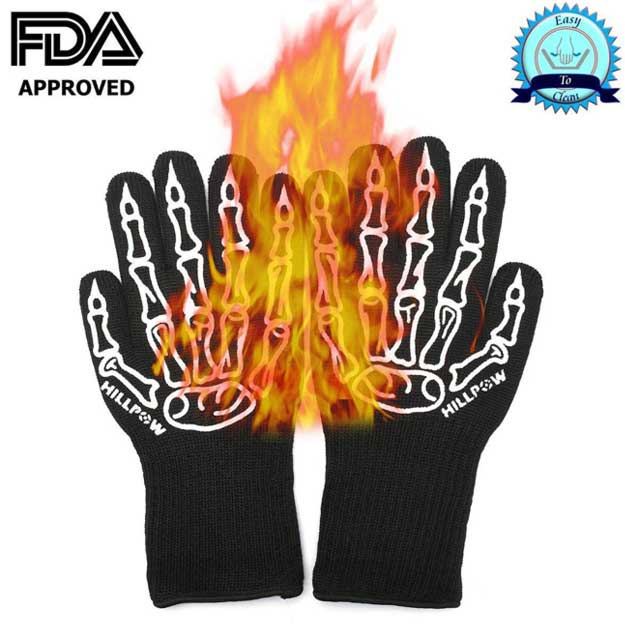 HILLPOW Extreme Heat Resistant BBQ Grilling Gloves (Skull Design)