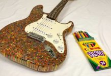 A Guy Builds Stratocaster DIY Electric Guitar With Colored Pencils (How To)