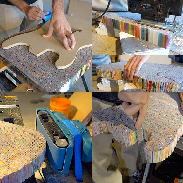 Build Your Own Electric Guitar By Placing A Fender Strat Body Template Onto The Slab For Tracing