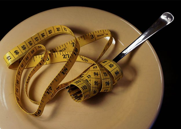 fork with measuring band on a food plate