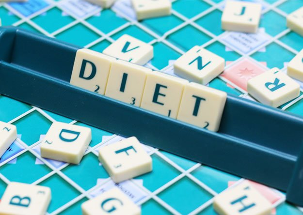 written diet text on a game
