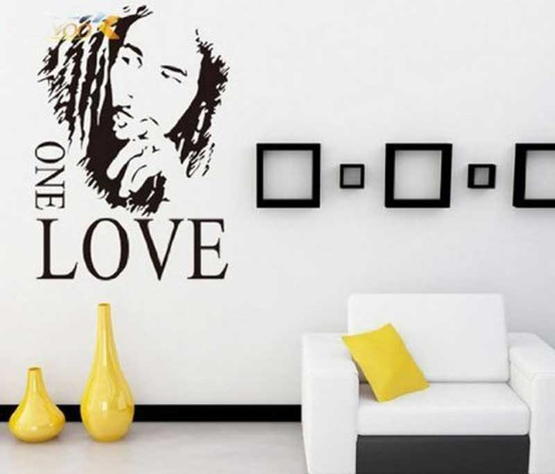 Bob Marley ONE LOVE Vinyl Art Mural Wall Sticker Home Decal Decor Room Music Fan Color