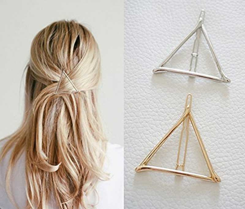 Minimalist Geometric Triangle Hair Clip, Dainty Hollow Metal Hairpin Clamps Accessories Barrettes Bobby Pin Ponytail Holder Statement