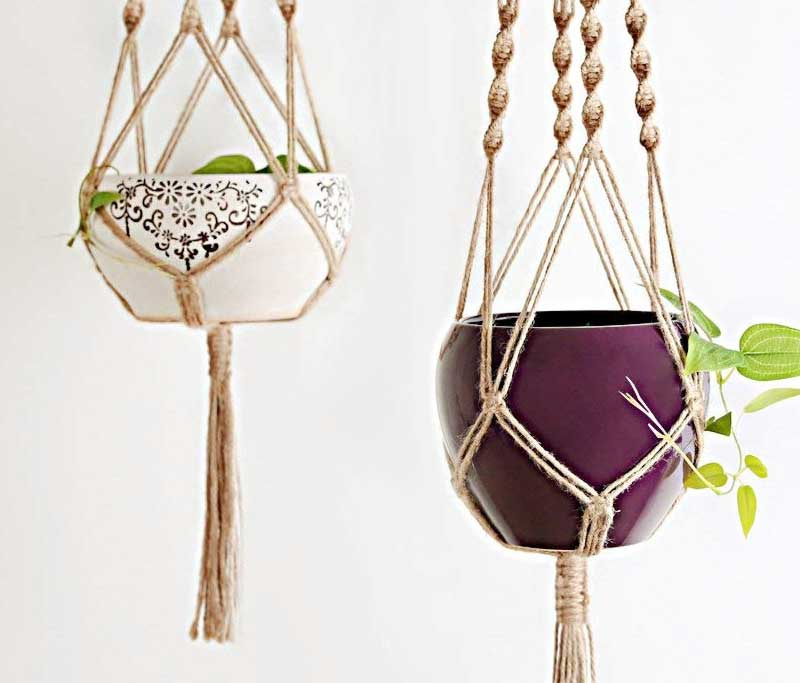 Plant Hanger Indoor Outdoor Hanging Planter Basket Jute Rope