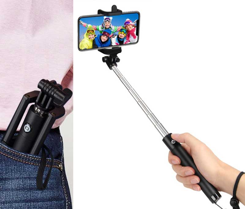 Selfie Stick Bluetooth, Professional 50-Hour Long Battery Life, Built-in Remote Camera Shutter Selfie Stick for iPhone 7 Plus All iOS Android