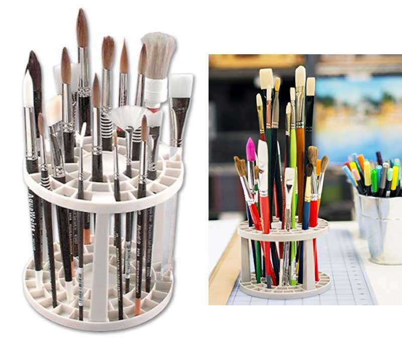 The Brush Crate Multi Bin Paint Brush Organizer - Artist Paint & Makeup Brush Holder, Pens, Pencils, Small Tools Organizer