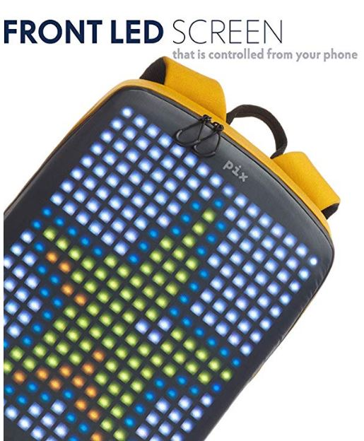 A Yellow backpack with a digital star pixel screen on the backside of a bag.
