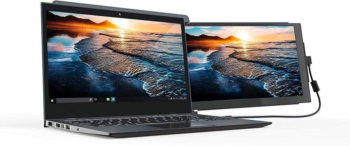 Duex Pro Portable External Laptop Monitor Is Connected With Another Laptop