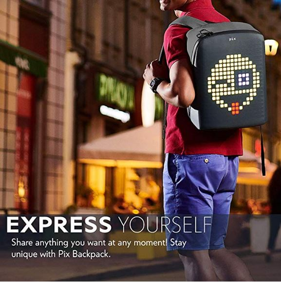 A man wearing a Backpack with Digital LED Pixel Screen on the back.