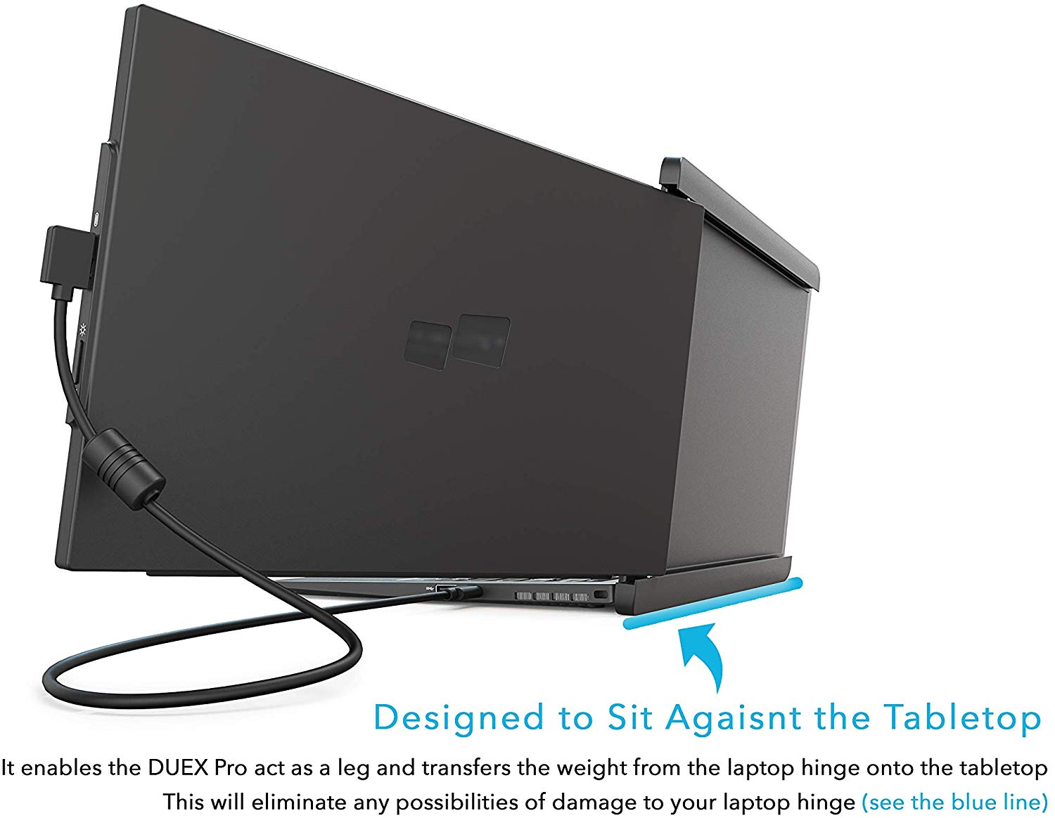 Image of an attached Extendable Extra Dual Laptop Screen on a laptop