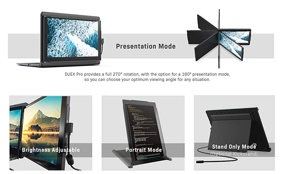 images of a laptop with adjustable brightness screen, portrait mode, stand only mode, presentation mode with 270 and 180 rotation mode