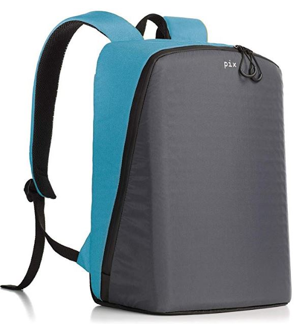 A LED backpack in cyan color