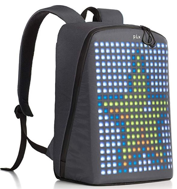 A LED backpack in grey color