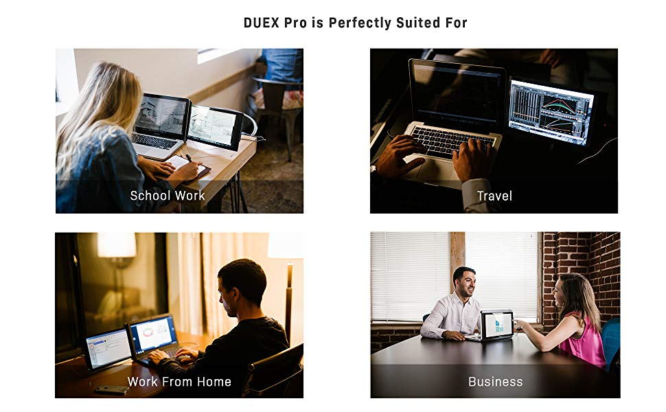 showing 4 images of external laptop screen for school work, travel, work from home and business