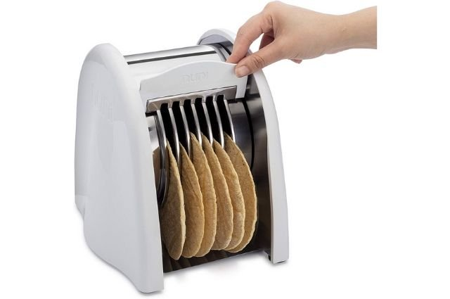 Pulling a rear handle on the tortilla toaster.
