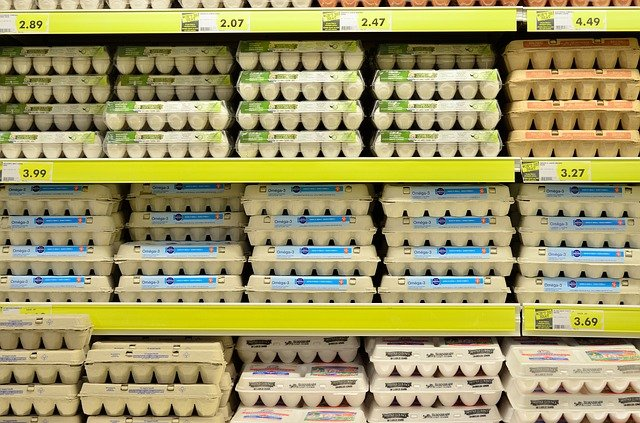 Eggs in the supermarket fridges