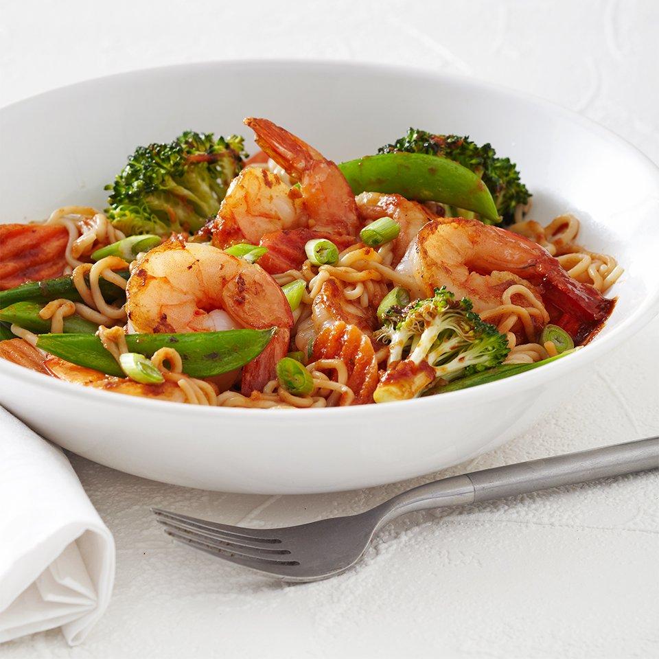Healthy Shrimp Tofu Noodles