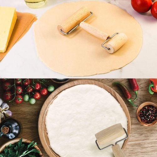 Pizza making double wood dough roller product