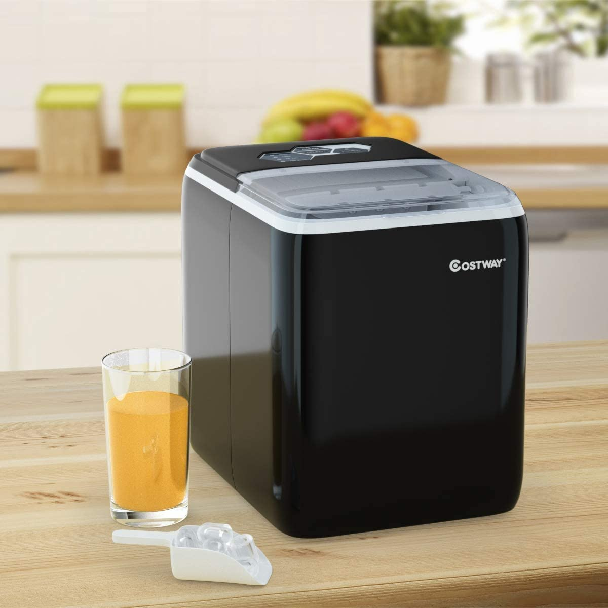 COSTWAY Ice Maker Countertop with Self-clean Function