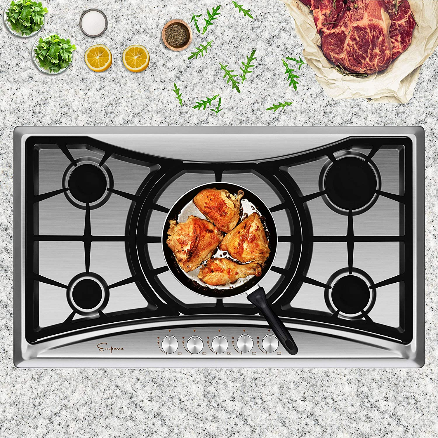 Empava 36 inch Gas Stove Cooktop with 5 Sealed Burners