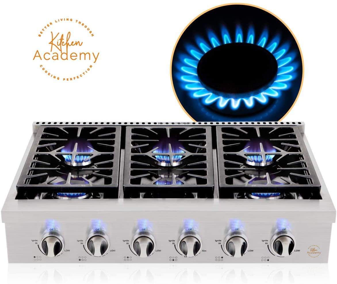 Kitchen Academy 36 inch Gas Cooktop, Professional Burners Gas Stove Cooktop with 6 Gas Burners